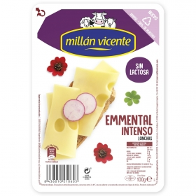 Queso emmental lonchas sin lactosa Millan Vicente 100 g.