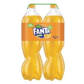 Refresco de naranja Fanta con gas pack de 2 botellas de 2 l.