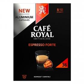 Café espresso forte en cápsulas de aluminio Royal compatible con Nespresso 36 ud.