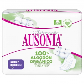 Compresas super con alas cotton protection Ausonia 10 ud.