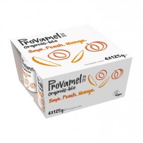Preparado de soja sabor melocotón y mango ecológico Provamel pack de 4 unidades de 125 g.