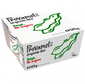 Preparado de soja natural sin azúcar añadido ecológico Provamel pack de 4 unidades de 125 g.