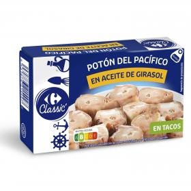 Tacos de potón en aceite de girasol Carrefour 65 g.
