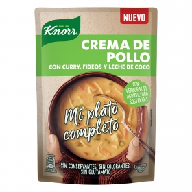 Crema de pollo con fideos, curry y leche de coco Knorr 375 ml.