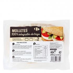 Molletes de pan integral para hornear o tostar Carrefour pack de 2 unidades de 100 g