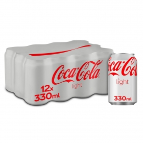 Refresco de cola Coca Cola light pack de 12 latas de 33 cl.