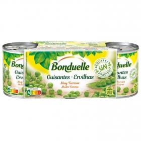 Guisantes tiernos muy finos sin azúcares añadidos Bonduelle pack 3 unidades de 140 g.