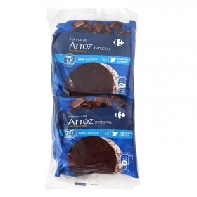 Tortitas de arroz integrales con chocolate Carrefour 130 g.
