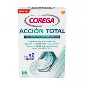 Tabletas limpiadoras para prótesis dentales ación total Corega 66 tabletas.