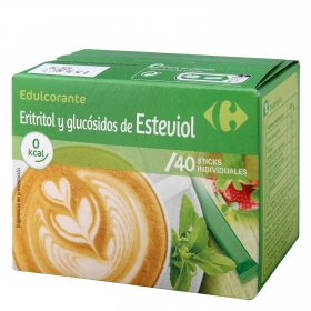 Edulcorante eritritol y glucósidos de esteviol Carrefour 40 ud.