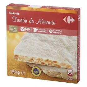 Torta turrón de Alicante Carrefour sin gluten 150 g.