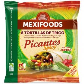 Tortillas de trigo para fajitas Mexifoods Picantes Spicy con Jalapeños 8 ud.
