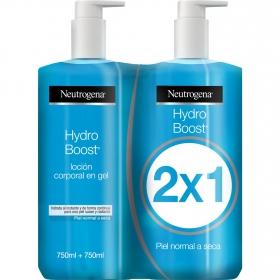 Loción corporal en gel piel normal a seca Hidrobost Neutrogena pack de 2 unidades de 750 ml.