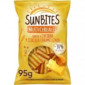 Aperitivo de cereales sabor queso chedar y cebolla caramelizada Sunbites 95 g.