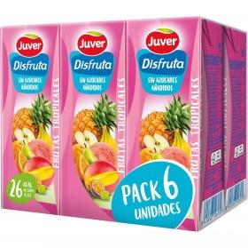 Zumo de frutas tropicales Juver-Disfruta sin azúcar añadido pack de 6 briks de 20 cl.