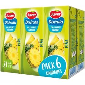 Zumo de piña Juver-Disfruta sin azúcar añadido pack de 6 briks de 20 cl.