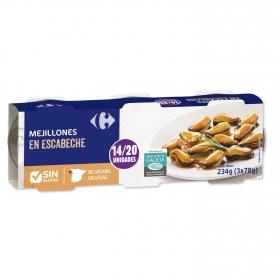 Mejillones en escabeche Carrefour pack de 3 unidades de 78 g.