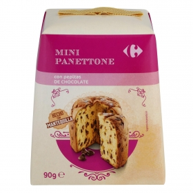 Panettone mini con pepitas de chocolate Carrefour 90 g.