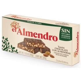 Turrón de chocolate con almendras sin azúcar El Almendro 200 g.