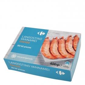 Langostino vannamei cocido 30/40 piezas Carrefour 400 g.