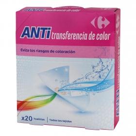 Toallitas anti transferencia del color Carrefour 20 ud.