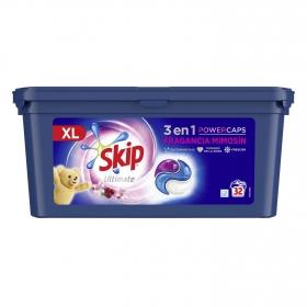 Detergente en cápsulas triple poder Ultimate Skip 32 lavados.