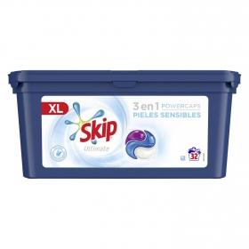 Detergente en cápsulas triple poder pieles sensibles Ultimate Skip 32 lavados.