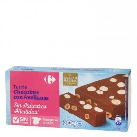 Turrón de chocolate con avellanas sin azúcar añadido Carrefour sin gluten 200 g.
