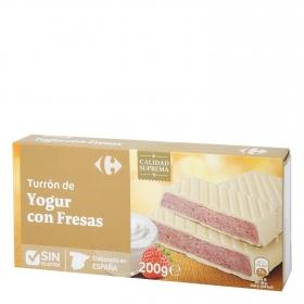 Turrón de yogur con fresas Carrefour sin gluten 200 g.