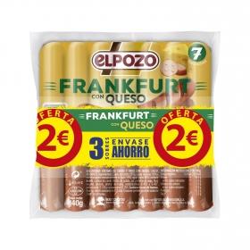 Salchichas Frankfurt con queso El Pozo sin gluten pack de 5 unidades de 140 g.