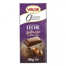 Chocolate con leche relleno de mousse de avellana sin azúcar añadido Valor sin gluten 150 g.