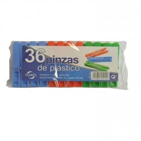 Set de 36 Pinzas de plástico para la ropa TARRES de Plástico 70x15 mm -Surtido