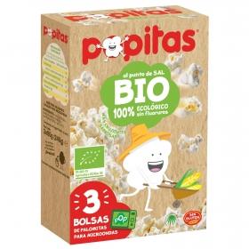Palomitas al punto de sal ecológicas Popitas pack de 3 bolsas de 80 g.