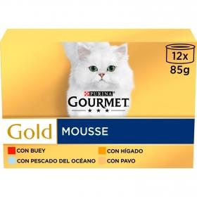 Purina Gourmet Gold Comida Húmeda para Gato Mousse Surtido 12x85g