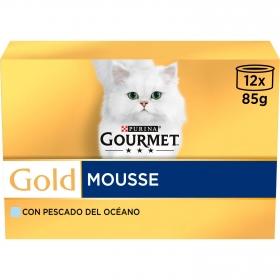 Purina Gourmet Gold Comida Húmeda para Gato Mousse Pescado del Oceano 12x85g