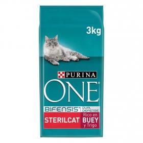 Menú Gato Purina One® Esterilizado Rico en Buey y Trigo 3Kg
