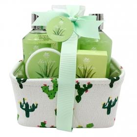 Cesta Tela Cactus: gel de ducha 250ml, gel espumoso 250ml, exfoliante 50ml, loción 110ml y jabón 70gr