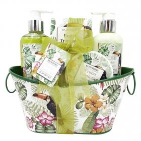 Cesta de baño Frutas Tropicales: gel 240ml, loción 240ml, exfoliante 50ml, sales de baño 100ml y jabón 75gr