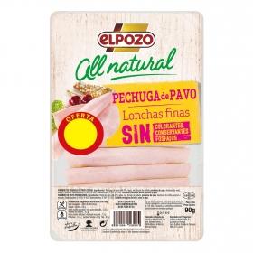 Pechuga de pavo lonchas Artesano El Pozo  Al Natural sin gluten y sin lactosa 90 g.