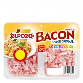Tiras de bacon natural ahumado El Pozo pack de 2 unidades de 55 g.