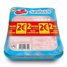 Fiambre de york lonchas Campofrío sin gluten pack de 2 unidades de 150 g.