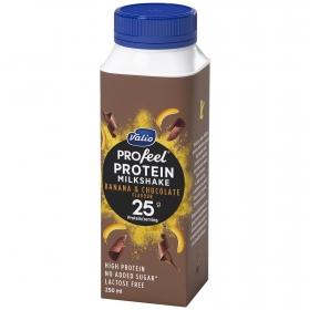 Yogur líquido plátano y chocolate alto en proteínas sin azúcares añadidos Valio sin lactosa 250 ml.