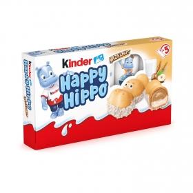 Barrita hipopótamo de barquillo rellena de leche y avellanas Kinder 5 ud.