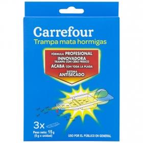 Trampa mata hormigas Carrefour pack de 3 unidades de 5 g.