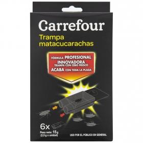 Trampa mata cucarachas Carrefour pack de 6 unidades de 2,5 g.
