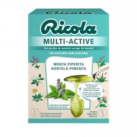 Caramelo sabor menta piperina sin azúcar Ricola Multi-Active 51 g.