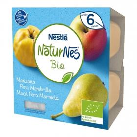 Postre de manzana, pera y membrillo ecológico Naturnes Bio pack de 4 unidades de 90 g.