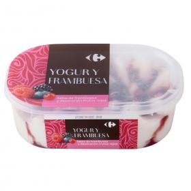 Helado de yogur y frambuesa Carrefour 900 ml.
