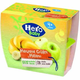 Tarrito de manzana golden y plátano desde 4 meses Hero Baby Fruta pack de 4 unidades de 100 g.