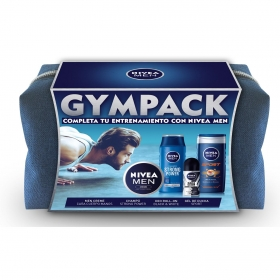 Neceser gympack Nivea Men (Crema 75 ml + Desodorante 50 ml + Gel de ducha 250 ml + Champú 250 ml)